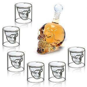 Conjunto de 6 vasos y botella de cristal de calavera