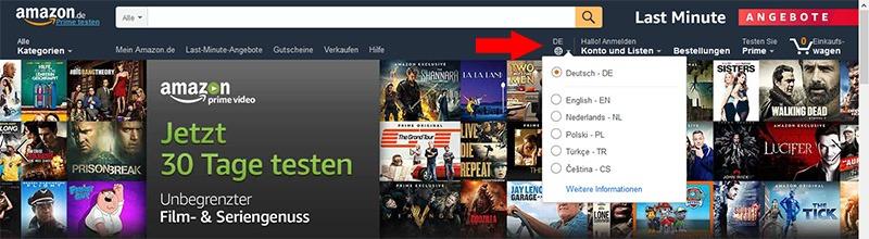 Playmobil baratos - Cambio de idioma en Amazon Alemania