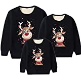 Sudaderas Navideñas Familiares Sudadera Reno Navidad Familiar Mujer Jersey Navideño Familia Hombre Feo Divertido Pullover Navidad Ugly Jerseys Navideños Pareja Unisex Talla Grande Sueter Negro 4XL