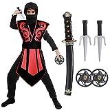 Tacobear Disfraz de Ninja para Niño Disfraz de Calavera Ninja Disfraz de Cosplay Disfraz Infantil de Halloween Negro y Rojo 3-12 Años (S(3-4 años)