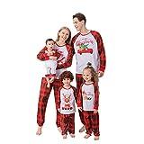 Sheey Conjunto de Pantalón y Pijama con Estampado Animal Ciervo Lindo Navideño, Traje Familiar Padres Hijos Arbol Navidad Niños Hombre Mujer Otoño Invierno Inicio Chaqueta Abrigo Jersey