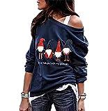 Sudadera Navidad Hombro Descubierto Mujer Jersey Navideño Feo Sudaderas Navideñas Mujer Divertido Pullover Navidad Ugly Jerseys Navideños Chica Sudadera Navideña Talla Grande Sueter Anchas Azul XL