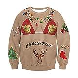 RAISEVERN Santa 3D Divertidos Bikinis impresión Ugly Christmas Sweater Larga Camisera Jersey para Adolescentes