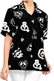 LA LEELA Vintage Piratas Esqueleto Calabaza Skull Cráneo Disfraces De Fiesta De Halloween Hawaiian Short Sleeve Women's Shirt Casual Hawaiana Camisa Beach Party Button Down Printed Aloha Negro_W980 L