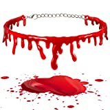 2 Piezas Collar de Sangre de Halloween Gargantilla de Goteo de Sangre de Vampiro Collar de Sangre de Horror Cadena de Sangre Roja Goteando Disfraces Fiesta Halloween Cosplay Joyería Moda Mujer