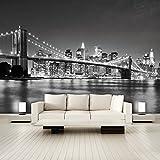 murimage Papel Pintado New York 366 x 254 cm Incluyendo Pegamento Fotomurales Manhattan Arquitectura Estados Unidos Ciudad USA Vista 3D Puente Brooklyn Bridge