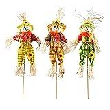 DSFSAEG Mini espantapájaros de Halloween decoración de Halloween decoraciones para jardín, patio, decoración de Acción de Gracias, color al azar (tamaño: 3 piezas)