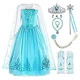 ReliBeauty Disfraz de niña Disfraz de Copo de Nieve de Lentejuelas Plisadas de Manga Larga Frozen Princess Elsa,con accessori (9)
