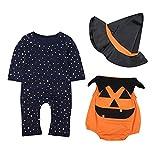 Le SSara Bebé Invierno Calabaza Halloween Mameluco recién Mono Traje Trajes 3 Piezas (18-24 Meses,Orange)