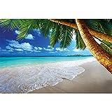 GREAT ART® Mural De Pared – Palmeras De Playa – Decoración Mural Caribe Sueño Beach Bahía Paraíso Naturaleza Isla Palmeras Trópicos Cielo Azul Foto De Verano (210x140 Cm)