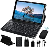 Tablet 10 Pulgadas HD FACETEL Android 10 Pro Tablet PC Octa-Core 1.6 GHz 4GB + 64GB (TF 128GB), Tableta con Teclado y Mouse, Cámara Dual, Bluetooth 4.0   Hotspot Móvil   WiFi - Gris