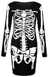 Fast Fashion Damen Kleiden Skeletts Druck (EUR (36-38), Bodycon Kleid)
