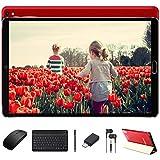 Tablet 10 Pulgadas 4GB RAM + 64GB ROM Android 10 GOODTEL Tablets con 1.6 GHz, Cámara Dual, WiFi, 8000mAh, GPS, Bluetooth, FM, con Teclado y Ratón - Rojo
