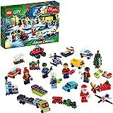 LEGO 60268 City Calendario de Adviento Navidad 2020, Miniset de Contrucción con Microvehículos, Trineo y Tabla de Papá Noel