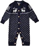 ZOEREA Suéter de Bebé Mono Recién Nacido Unisex Navidad de Manga Larga Jersey de Algodón de Ciervo Hecho Punto Azul Oscuro Etiqueta 70