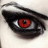 "Designlenses, Dos lentillas de color rojo para Halloween monstruo disfraz lentillas sin dioprtías / corregir + gratis caso de lente ""Red Monster'"