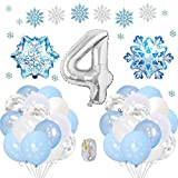 SPECOOL Frozen 4 Años Globos Decoración Cumpleaños Niña, Globo Fiesta de Globos Blancos Azules Confeti de Copos de Nieve para Fiesta de Cumpleaños Aniversario Graduación Centro Decoración de Fondo
