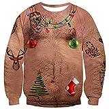 Fanient Jersey de Navidad unisex Ugly con estampado 3D, cuello redondo, manga larga Hairy Chest S