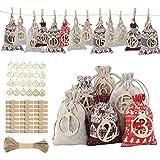 FORMIZON 24 Calendario de Adviento, Bolsa de Regalo Navidad, Bolsas de Yute con 24 Etiqueta Digital de Madera, Bolsas de Regalo Navidad, Arbol de Navidad Decoracion (Bolsa)