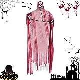 TaimeiMao Esqueleto Colgante para Halloween,Decorado de Halloween,Fiestas de Halloween Accesorio,Cráneo Esqueleto Colgante,Esqueletos Fantasma (Rojo)