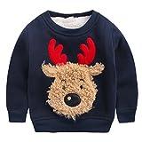 Happy Cherry - Invierno Ropa Infantil Sudadera Chandal Suéter Cuello Redondo con Dibujo de Reno Navidad para Niños Unisex - Azul - Talla ES 2-3 años