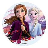 Dekora - Decoracion Tartas de Cumpleaños Infantiles en Disco de Oblea de Frozen II - Elsa y Anna