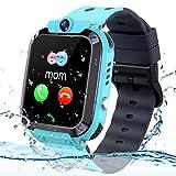 Vannico Smartwatch Niños, Reloj GPS Niño Inteligente Niña IP68 Impermeable con GPS Tracker Teléfono Reloj Despertador Juego de cámara Compatible con 2G Regalo de cumpleaños Simyo para niños (Azul)