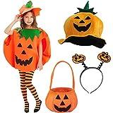 YUESEN Disfraz de Calabaza Disfraces para Niños,Festival de Halloween Cosplay Ropa Decoración,Color Naranja(5 Pcs)