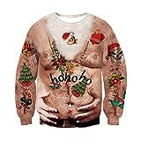 RAISEVERN Feo Navidad 3D Grasa Hombres Mujeres impresión Pullover Sweater Jumper Outwear ho ho ho Palabras diseño para Ropa de año Nuevo