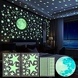Yosemy Luminoso Pegatinas de Pared Luna Estrellas Puntos Pegatinas de Pared para Niños Infantil Fluorescente Adhesivos Decoración para Dormitorio, 4 Piezas 563pcs