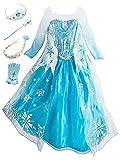 YOSICIL Princesa Disfraz de Princesa Frozen Elsa Disfraces de Princesa Manga Gradiente Fancy Dress Elasticidad niña Lentejuela Impreso Nieve Princesa Disfraz Accesorios con Capas 3-9 años