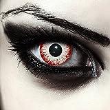 """Designlenses, Dos lentillas de color blanco y rojo para Halloween zombie disfraz lentillas sin dioprtías/corregir + gratis caso de lente """"Zombie Fear'"""