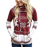 Sudadera Navidad con Capucha Mujer Sudaderas Navideñas Estampadas Jersey Navideño Sueter Reno Sweaters Pullover Hoodies Largas Chica Oversize Anchas Deporte Larga Invierno Personalizadas Vino Rojo L