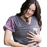 Sleepy Wrap Ergo Fular Portabebés - Dark Grey - Regalo Ideal, Porta Bebés de Tela Suave y Elástico