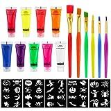 FHzytg Maquillaje para Halloween, color neón, para Halloween, con pincel y plantillas, color neón fluorescente, color neón