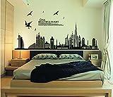 ufengke® Ciudad Negro Silueta del Paisaje Urbano Rascacielos Pegatinas de Pared, Sala de Estar Dormitorio Removible Etiquetas de La Pared/Murales