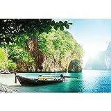 GREAT ART Mural De Pared – Barco De Pescadores En Bahía Tropical – Vacaciones Pasaje Playa Paradíso Naturaleza Isla Mare Foto Papel Pintado Y Tapiz Y Decoración (336 x 238 cm)