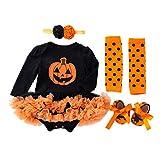 BabyPreg Mi Primer Traje de Halloween para niña Infantil Disfraz de Acción de Gracias Conjunto de Vestido de Calabaza para bebé (3-6 Meses, Calabaza Larga)