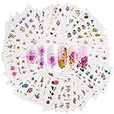 Pegatinas Uñas al Agua,Liwein Pegatinas Uñas Navidad Decorativas Nail Art Stickers Navideñas Decorativas 3D Nail Stickers Navidad Autoadhesivas Calcomanías Uñas (Flor)