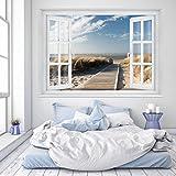 murimage Papel Pintado Playa Ventana 183 x 127 cm Incluyendo Pegamento océano maritimo Puente 3D Dormitorio Foto Murales
