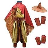 Lito Angels Raya and the Last Dragon Disfraz para niños y niñas, disfraz de Halloween para fiesta de disfraces C (mono con sombrero de bambú y capa roja) de 4 a 5 años, multicolor 294