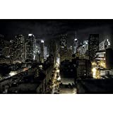 GREAT ART® XXL Póster – Manhattan De Noche – Vista Del Horizonte Ciudades Turismo Ciudad Decoración Nueva York Con Motivos Metrópolis New York Skyline (140 X 100 Cm)