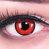 Lentillas de Color Rojo Negro Red Demon 1 par Halloween Carnaval, Carnaval de Halloween Gratis Estuche de lentillas sin graduación