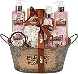 BRUBAKER Cosmetics Set de Baño y Ducha'Leche de Coco y Fresa' - Fragancia de Coco y fresa - Set de regalo de 11 piezas en bañera vintage
