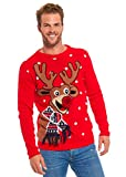 Women`s Ugly Christmas Sweater, Novelty Funny Xmas Jumper with Santa Reindeer Snowflake,Chunky Unisex Festive Knitted Pullover Long Sleeve Sweater for Party