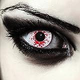 """Designlenses, Dos lentillas de color blanco y rojo sangriento para Halloween zombie disfraz lentes sin dioprtías/corregir + gratis caso de lente """"Blood Splash'"""