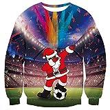 Freshhoodies Unisex Santa Claus con Fútbol Jersey De Navidad 3D Navidad Ropa Divertida Jerseys Traje De Navideño Christmas Jumper Tops Sweatshirt XXL
