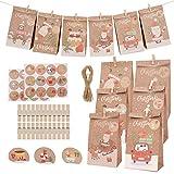 Herefun 24 Piezas Bolsa de Regalo Navidad, Bolsa de Papel, Navidad Vacaciones Calendario de Adviento, Decoración Navideña con Pegatinas, Clips de Madera, Cuerda de Yute
