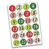 Papierdrachen 24 Pegatinas de números del Calendario de Adviento - clásico - con el patrón nº 05 - Pegatina de 4 cm - para Manualidades y decoración