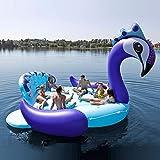 Piscina Inflable flotador 6 Persona Inflable Gigante Pavo Real Piscina Flotador Isla Piscina Lago Fiesta En La Playa Barco Flotante Adulto Juguetes Para El Agua Colchones De Aire Blue-490*320cm
